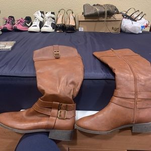 American Eagle Womens Brown Riding Boots Low Heel Mid-calf Size 13